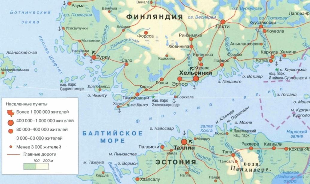 карта финского залива