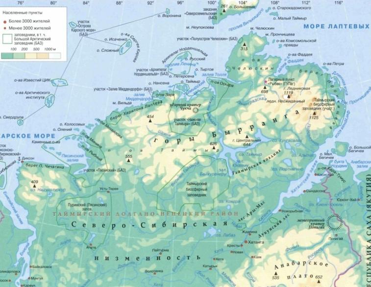карта Таймыра