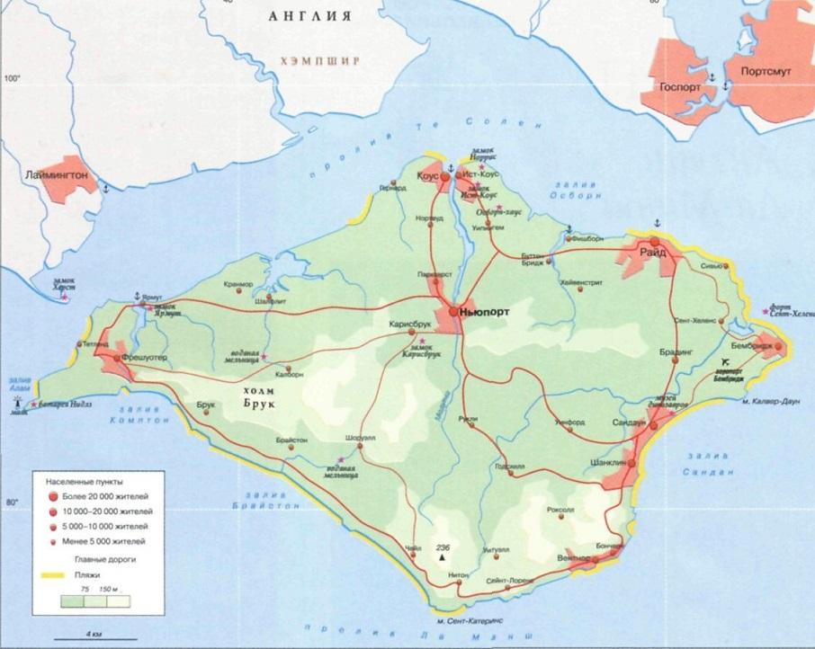 карта острова уайт