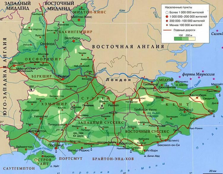 Карта Юго-Восточной Англии