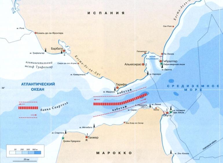 карта гибралтарского пролива