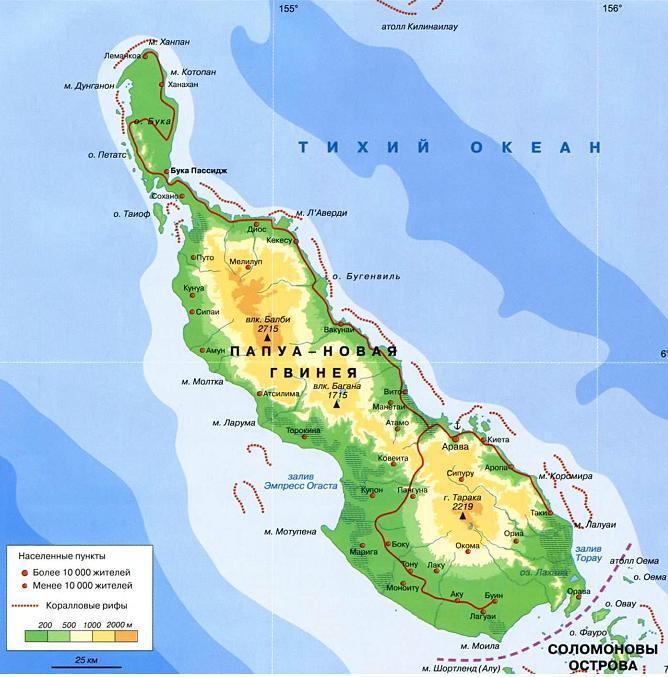 карта острова Бугенвиль