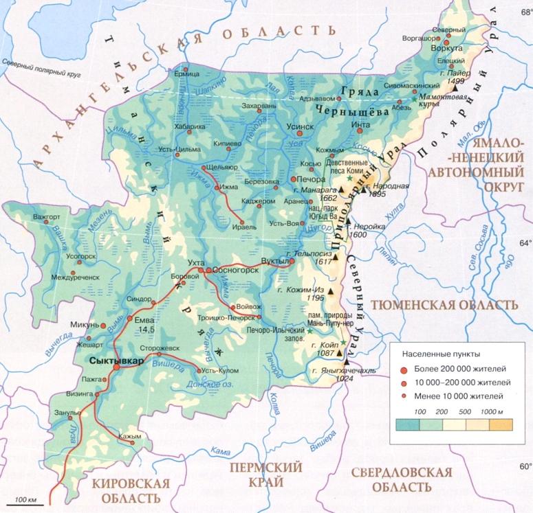 Карта республики Коми