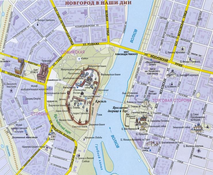 карта исторического района Новгорода